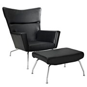 Modway Class Leather Lounge Chair With Ottoman, Black