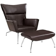 Modway Class Leather Lounge Chair With Ottoman, Dark Brown