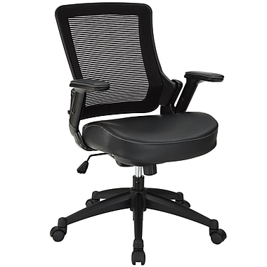 Modway Veer Padded Vinyl Mid Back Office Chair, Black