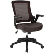Modway Veer Padded Vinyl Mid Back Office Chair, Brown