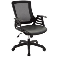Modway Veer Vinyl Mid Back Office Chair With Ladder Arms, Black