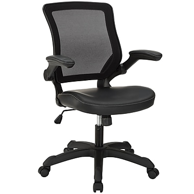 Modway Veer Mid-Back Vinyl Office Chair, Adjustable Arms, Black
