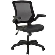 Modway Veer Padded Vinyl Mid Back Office Chair With Flip Up Arms, Black