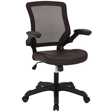 Modway Veer Padded Vinyl Mid Back Office Chair With Flip Up Arms, Brown