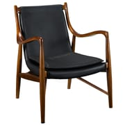 Modway Makeshift Leather Lounge Chair, Black