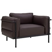 Modway Le Corbusier Style LC3 Leather Armchair, Dark Brown