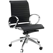Modway Ribbed Mid Back Leather Office Chair With Round Arms, Black
