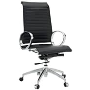 Modway Ribbed High Back Leather Office Chair With Round Arms, Black