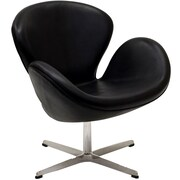 Modway Wing Aniline Leather Lounge Chair, Black