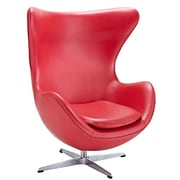 Modway Glove Aniline Leather Lounge Chair, Red