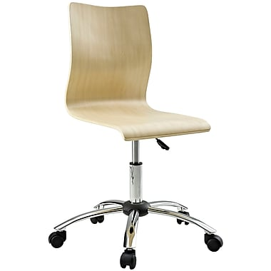 Modway Fashion Plywood Office Chair, Armless, Natural