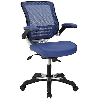 Modway High-Back Leatherette Executive Chair, Adjustable Arms, Blue