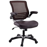 Modway EEI-595-BRN Edge Leatherette High-Back Executive Chair with Adjustable Arms, Brown