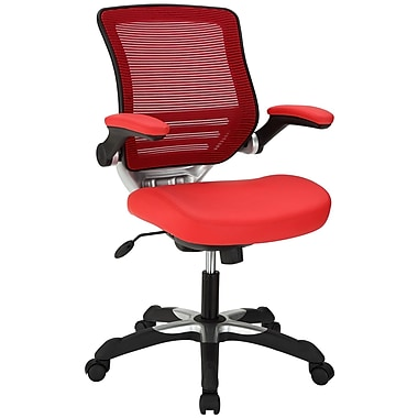 Modway Edge Leatherette Mid Back Office Chair, Red