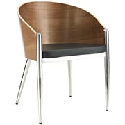 """Modway Cooper 28""""H Faux Leather Dining Armchair, Silver"""