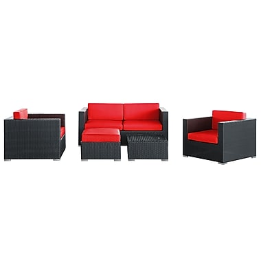 Modway Malibu 5 Piece Fabric Outdoor Wicker Patio Sofa Set, Espresso/Red