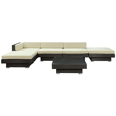 Modway Laguna 6 Piece Fabric Outdoor Wicker Patio Sectional Sofa Set, Espresso/White