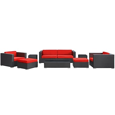 Modway Venice 8 Piece Synthetic Outdoor Wicker Patio Sofa Set, Espresso/Red