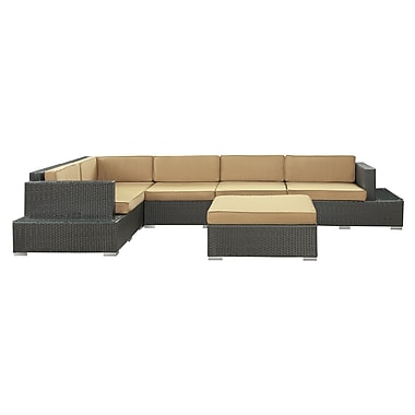 Modway Secret Harbour 6 Piece Synthetic Outdoor Wicker Patio Sectional Sofa Set