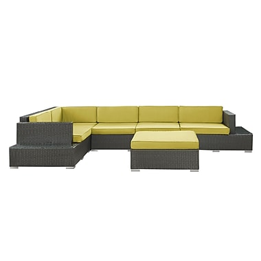 Modway Secret Harbour 6 Piece Synthetic Outdoor Wicker Patio Sectional Sofa Set, Espresso/Peridot