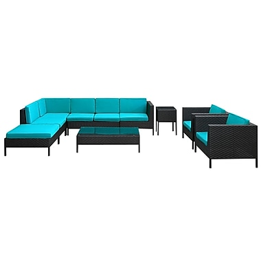 Modway La Jolla 9 Piece Fabric Outdoor Wicker Patio Sectional Sofa Set, Espresso/Turquoise