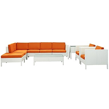 Modway La Jolla 9 Piece Fabric Outdoor Wicker Patio Sectional Sofa Set, White/Orange