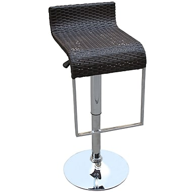 Modway LEM Synthetic Rattan Weave Bar Stool, Black