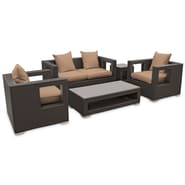 Modway Lunar 5 Piece Synthetic Outdoor Wicker Patio Sofa Set