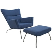 Modway Class Wool Lounge Chair Set, Blue Tweed