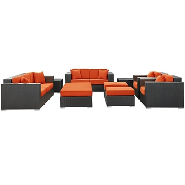 Modway Eclipse 9 Piece Synthetic Outdoor Wicker Patio Sofa Set, Espresso/Orange
