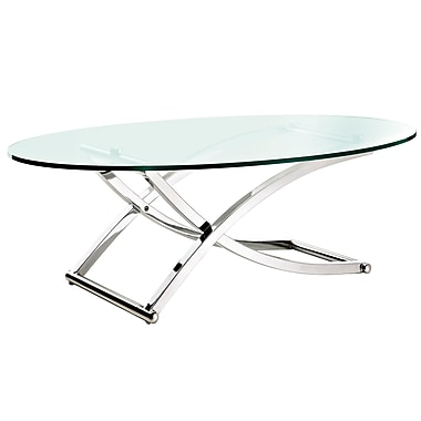 Modway Criss Oval Glass Coffee Table, Silver Clear