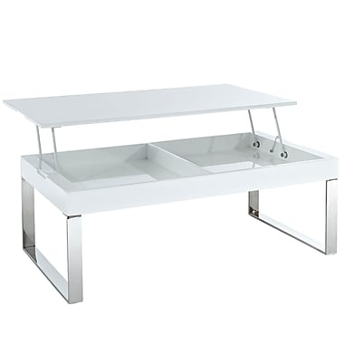 Modway Gloss Rectangular Metal Coffee Table, White