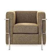 Modway Le Corbusier Style LC2 Wool Armchair, Oatmeal