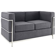 Modway Le Corbusier LC2 Wool Loveseat, Dark Gray