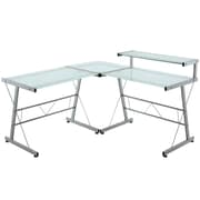 Modway Frosted Glass L-Shaped Computer Desk, Silver