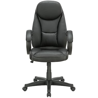 Modway Trendsetter High-Back Vinyl Executive Chair, Fixed Arms, Black