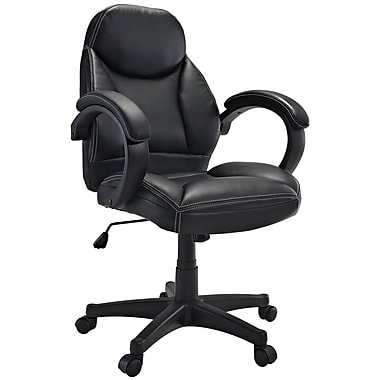 Modway Commander Padded Vinyl Mid Back Ergonomic Executive Office Chair, Black