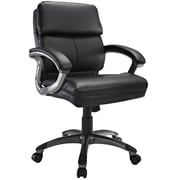 Modway EEI-719-BLK Stellar Vinyl Mid-Back Executive Chair with Fixed Arms, Black