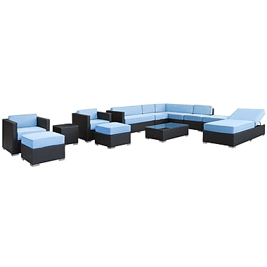 Modway Fusion Synthetic 12 Piece Outdoor Wicker Patio Sectional Sofa Set