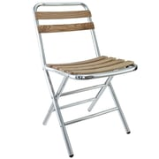Modway Folderia Aluminum and Willow Screen Slat Folding Chair, Silver