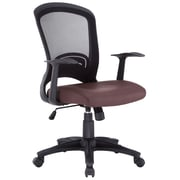 Modway EEI-756-BRN Pulse Vinyl Mid-Back Task Chair with Fixed Arms, Brown
