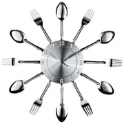 Modway EEI-760 Fork and Spoon Dining Wall Clock, Silver