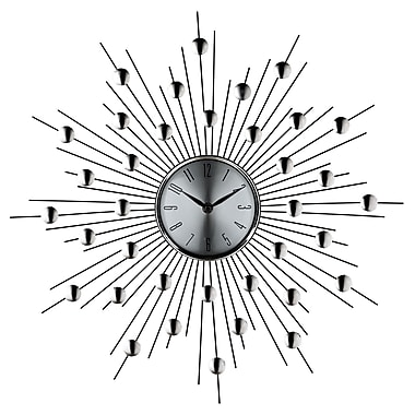 Modway 848387011192 Metal Analog Wall Clock, Silver/Black