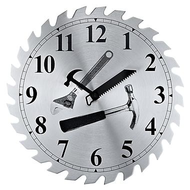 Modway EEI-766 Saw Blade Workshop Wall Clock, Black/Silver