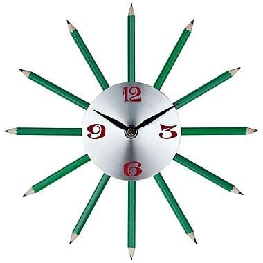 Modway EEI-768 Aluminum Analog Pencil Wall Clock, Green