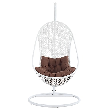 Modway Bestow Fabric Lounge Chair, White/Brown