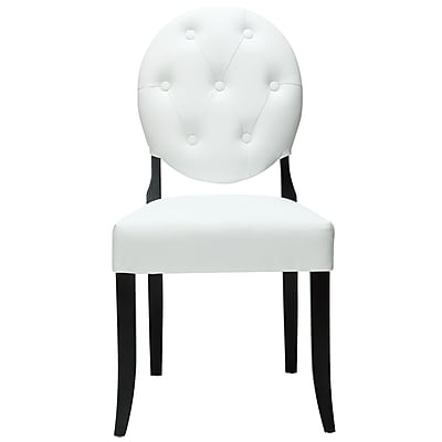 """""Modway Button 37 1/2""""""""H Padded Vinyl Dining Side Chair, White"""""" 512250"