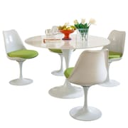 "Modway Lippa 5 Piece Fiberglass Dining Set With 4 Side Chairs and One 48"" Dining Table, Green"