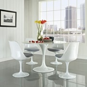 "Modway Lippa 5 Piece Fiberglass Dining Set With 4 Side Chairs and One 48"" Dining Table, Gray"