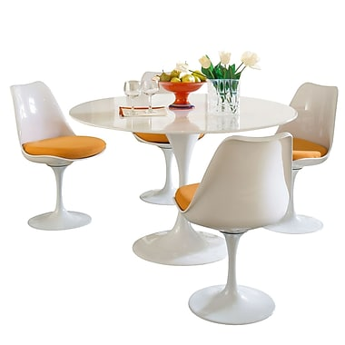 Modway Lippa 5 Piece Fiberglass Dining Set With 4 Side Chairs and One 48